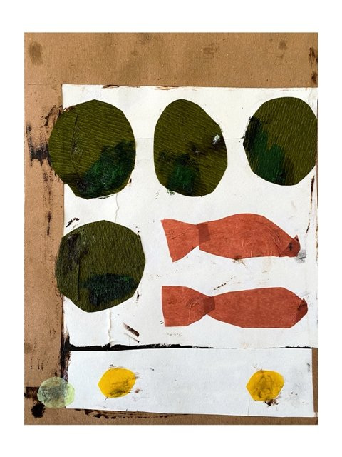 Sardines, olives and peanuts. Collage,acrylic & oil paint. 21x25cm. 230€.